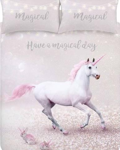 Růžovo-fialové povlečení Catherine Lansfield Echanted Unicorn, 135 x 200 cm