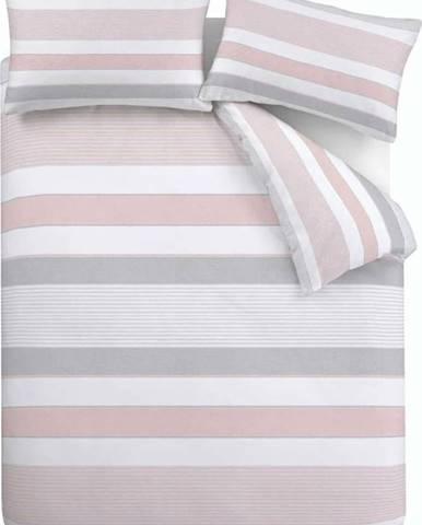 Růžovo-šedé povlečení Catherine Lansfield Newquay Stripe, 135 x 200 cm