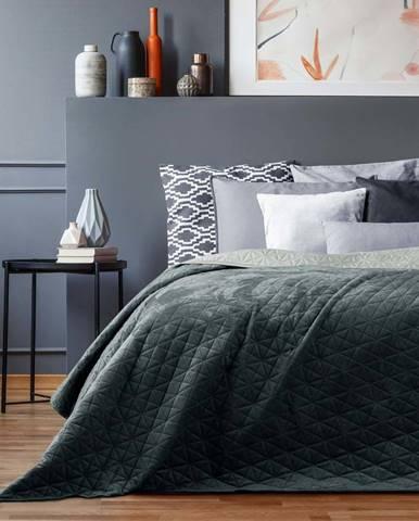 Tmavě šedý přehoz přes postel AmeliaHome Laila Graphite, 260x240cm