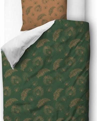 Zeleno-hnědé povlečení z bavlněného saténu Butter Kings Boho Leaves,135x200cm