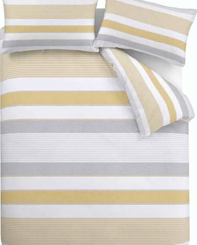 Žluto-šedé povlečení Catherine Lansfield Newquay Stripe, 200 x 200 cm