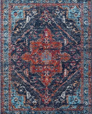Tmavě modro-červený koberec Nouristan Azrow, 80 x 150 cm