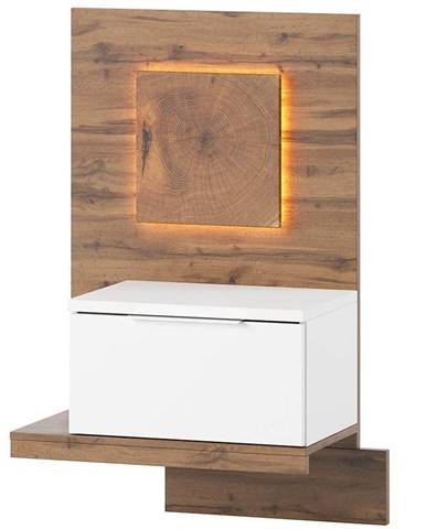 Noční Stolek Livorno 60 cm Dub Wotan/Bílá, Pravý