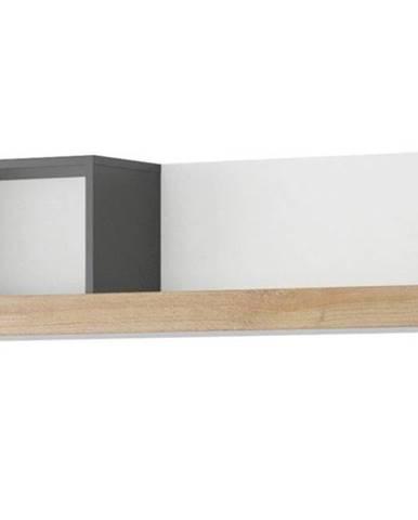 Polička Riva 129 cm Černá Mat/Dub Riviera/Bílý