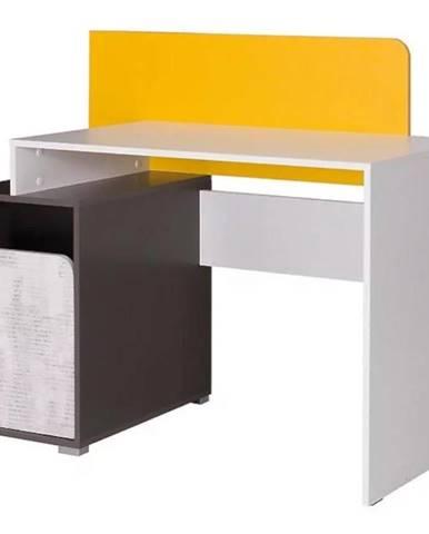 Psací Stůl Bruno 120 cm Šedá/Bílý/Žlutý