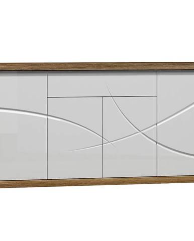 Komoda Paris 171 cm, dub stirling / bílá