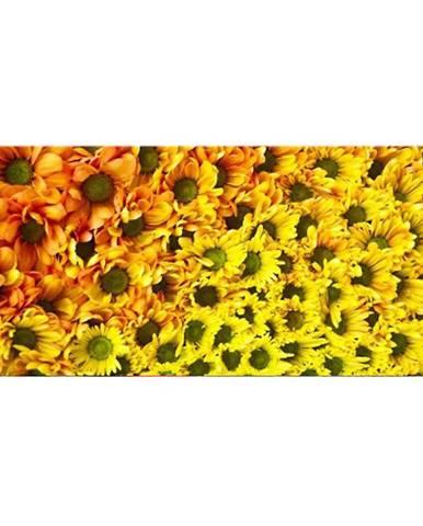 Dekor skleněný - žluté květy 20/50