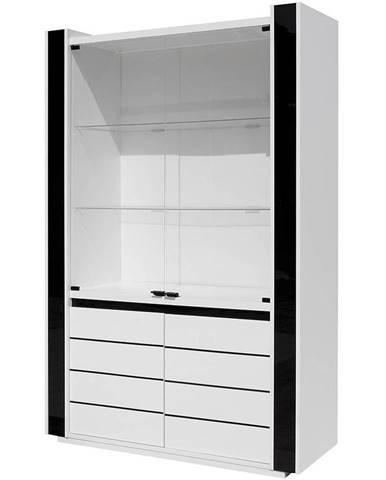 Vitrína Linn 120 cm, bílá / černá