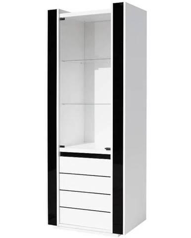 Vitrína Linn 72 cm, bílá / černá