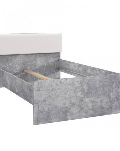 BAUMAX Postel Canmore 120cm Beton/Bílý Lesk