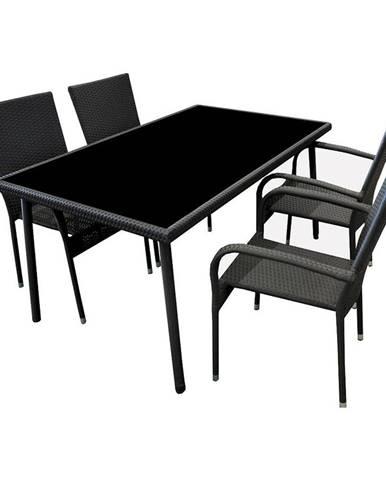 Zahradní sada ratan stůl + 4 židle černá
