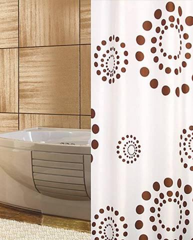 Sprchový zavěs 120/200 22382 kruhy hnědá