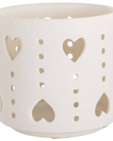 Porcelánová Svíčka T-light srdce bílá