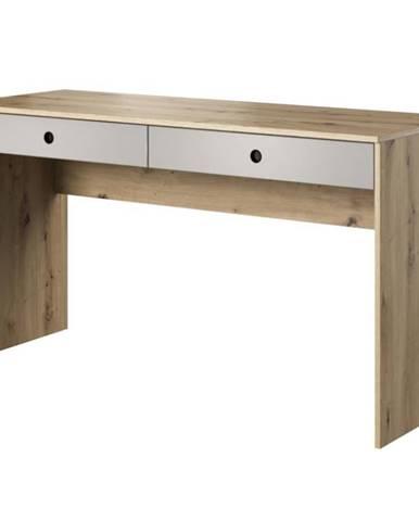 Psací Stůl Kuki 140cm Dub Artisan/Sivá Platina