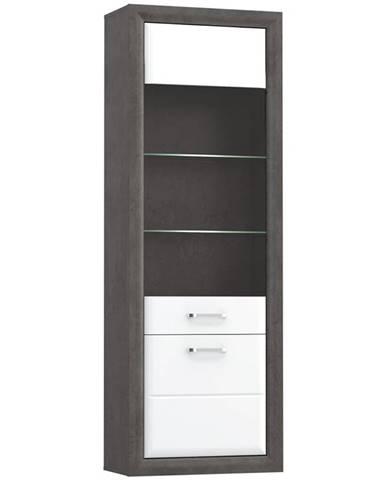 Vitrína 69 cm Lenox Bílý Lesk/Beton