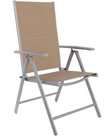 Židle 7-poloh s výplní taupe hliník