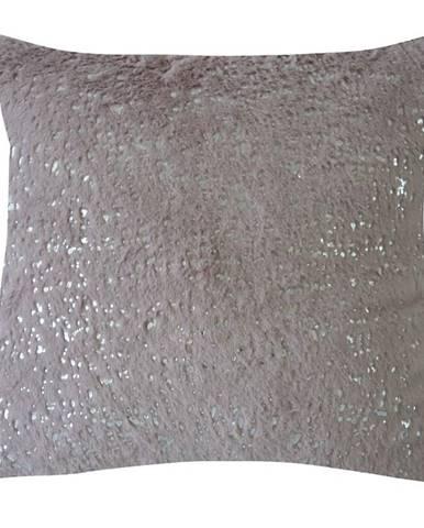 Dekorační polštář, 45x45 cm, růžovostříbrný