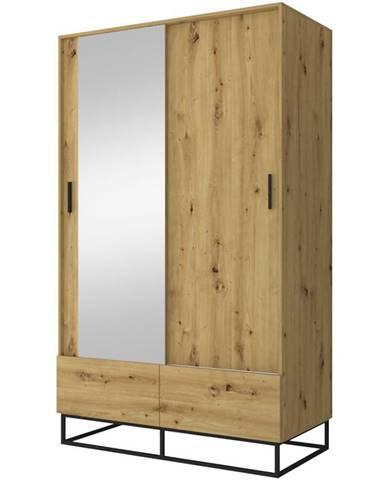 Skříň Ejoy 130cm Dub Artisan/Zrcadlo