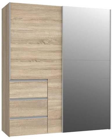 Skříň Winn 170cm Dub Sonoma/Zrcadlo