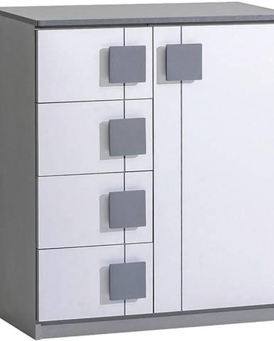 Komoda Gumi G3 80cm Bílý Bryl/Antracyt