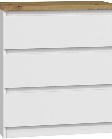 Komoda Malwa M3 B22 Bílý  Mat/Doska Dub Artisan