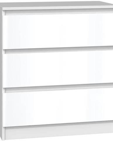 Komoda Malwa M3 Bílý/Bílý Lesk