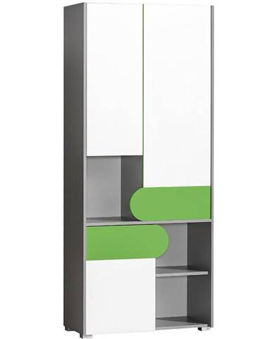 Skříň Futuro 80cm Zelený/Bílý/Grafit