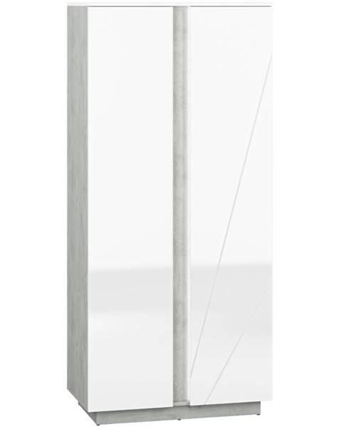 BAUMAX Skříň Lumens 92 cm Bílá Lesk/Beton