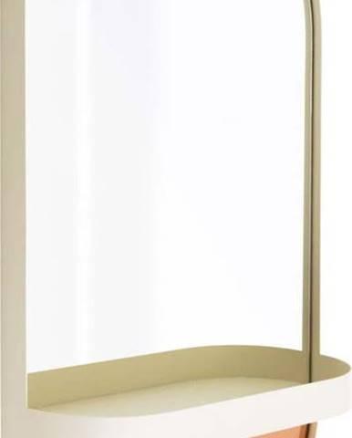 Oranžové nástěnné zrcadlo s poličkou Remember Taupe