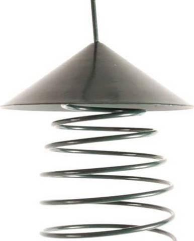 Tmavě zelené kovové krmítko se střechou Esschert Design, ⌀10,8cm