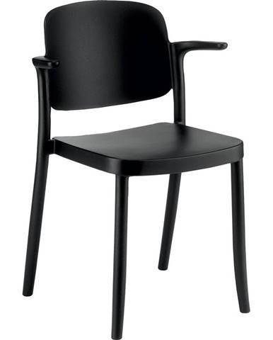 Plastová Židle S Područkami Plaza Černá