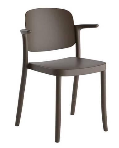 Plastová Židle S Područkami Plaza Hnědá