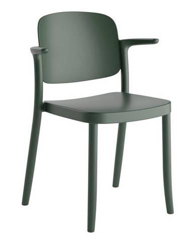 Plastová Židle S Područkami Plaza Zelená