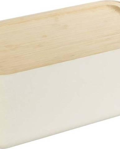 Béžový úložný box s bambusovým víkem Wenko Derry Bamboo
