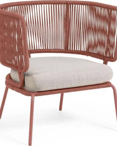 Zahradní křeslo v terakotové barvě s ocelovou konstrukcí La Forma Nadin