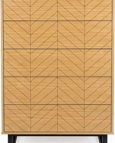Komoda vdubovém dekoru Woodman Camden Herringbone, 80x123cm
