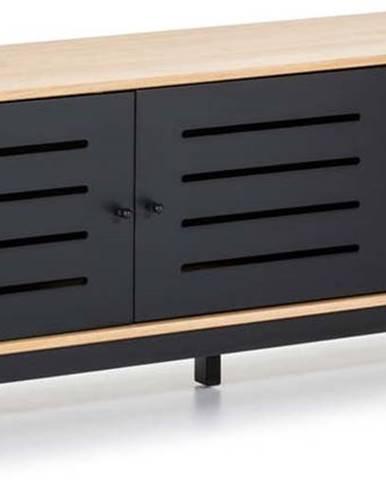 TV komoda s dřevěnou konstrukcí a černými detaily Marckeric Alessia