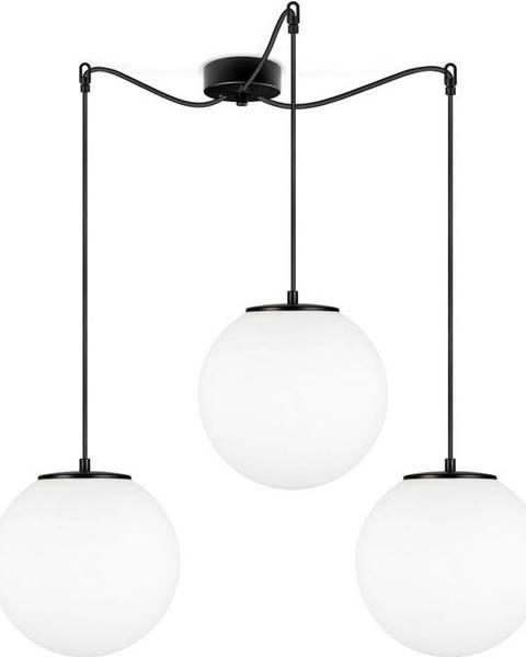 Sotto Luce Černé tříramenné závěsné svítidlo s bílými stínidly Sotto Luce Tsuki, ⌀ 25 cm