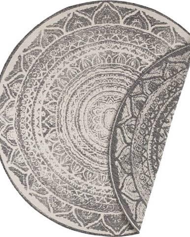 Šedo-krémový venkovní koberec Bougari Siruma, ø 200 cm