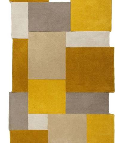 Žluto-béžový vlněný koberec Flair Rugs Collage, 150 x 240 cm
