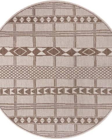 Hnědo-béžový venkovní koberec Ragami Madrid, ø 120 cm