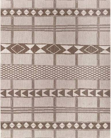 Hnědo-béžový venkovní koberec Ragami Madrid, 80 x 150 cm