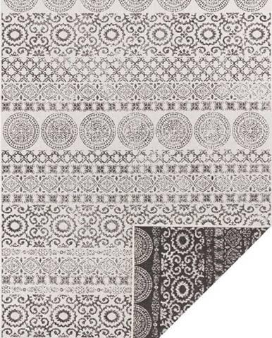 Hnědo-bílý venkovní koberec Ragami Circle, 160 x 230