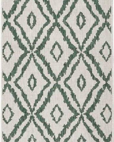 Zeleno-bílý venkovní koberec Bougari Rio, 80x 250 cm