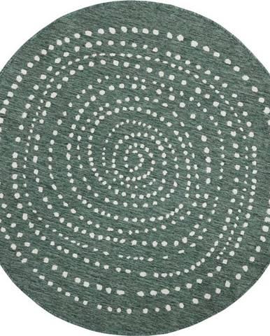 Zelený oboustranný venkovní koberec Bougari Bali, Ø 140 cm