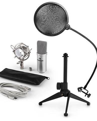 Auna MIC-900S V2, USB mikrofonní sada, kondenzátorový mikrofon + pop-filter + stolní stativ