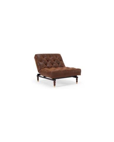 Hnědé rozkládací křeslo Innovation Oldschool Leather Look Brown Vintage