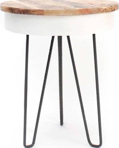 Bílý odkládací stolek s dřevěnou deskou LABEL51 Saria