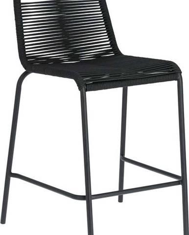 Černá barová židle s ocelovou konstrukcí La Forma Glenville, výška 62 cm
