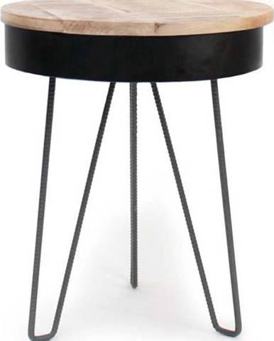 Černý odkládací stolek s dřevěnou deskou LABEL51 Saria